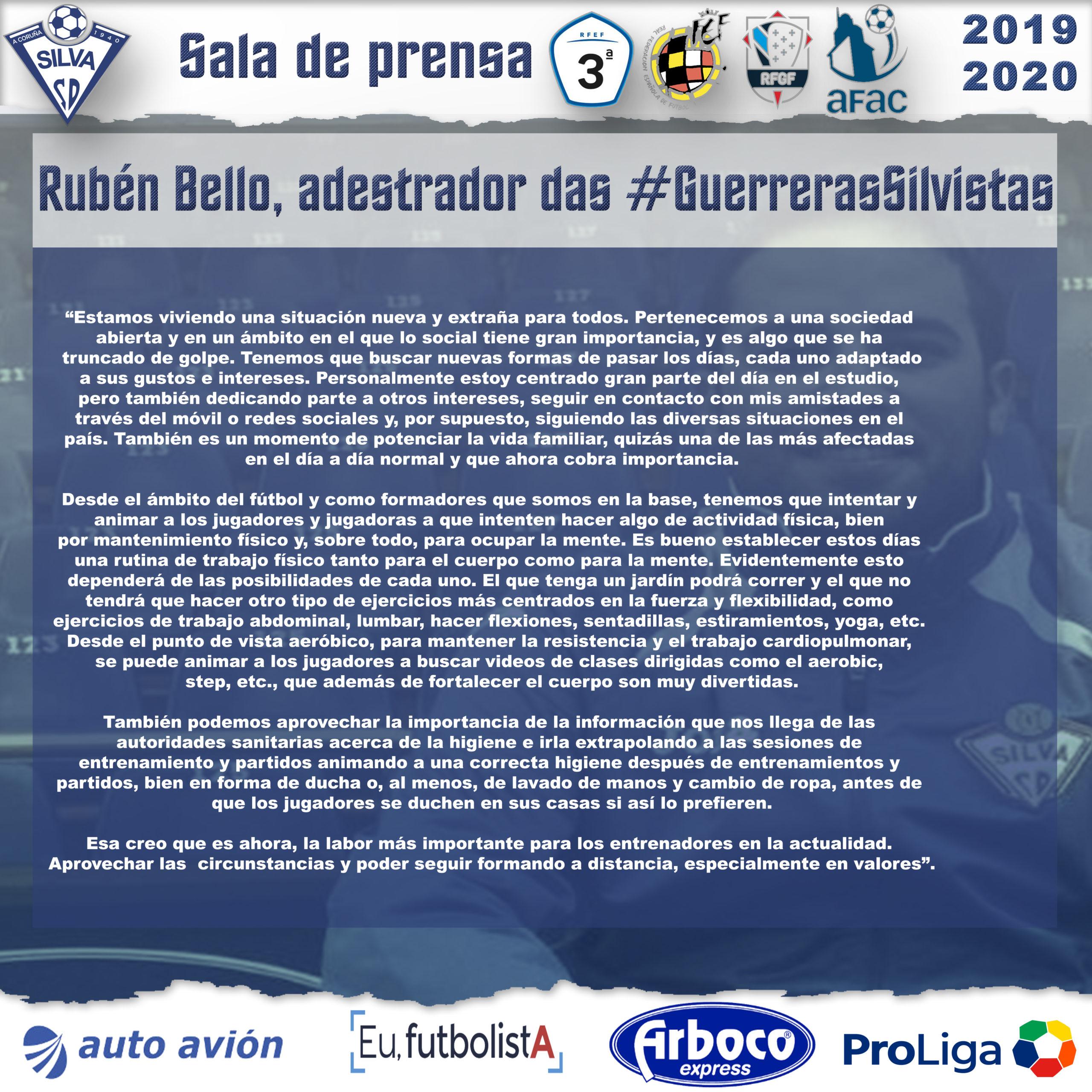 Rubén Bello, técnico de las #GuerrerasSilvistas, anima a mantener un ritmo de vida saludable en casa en este período