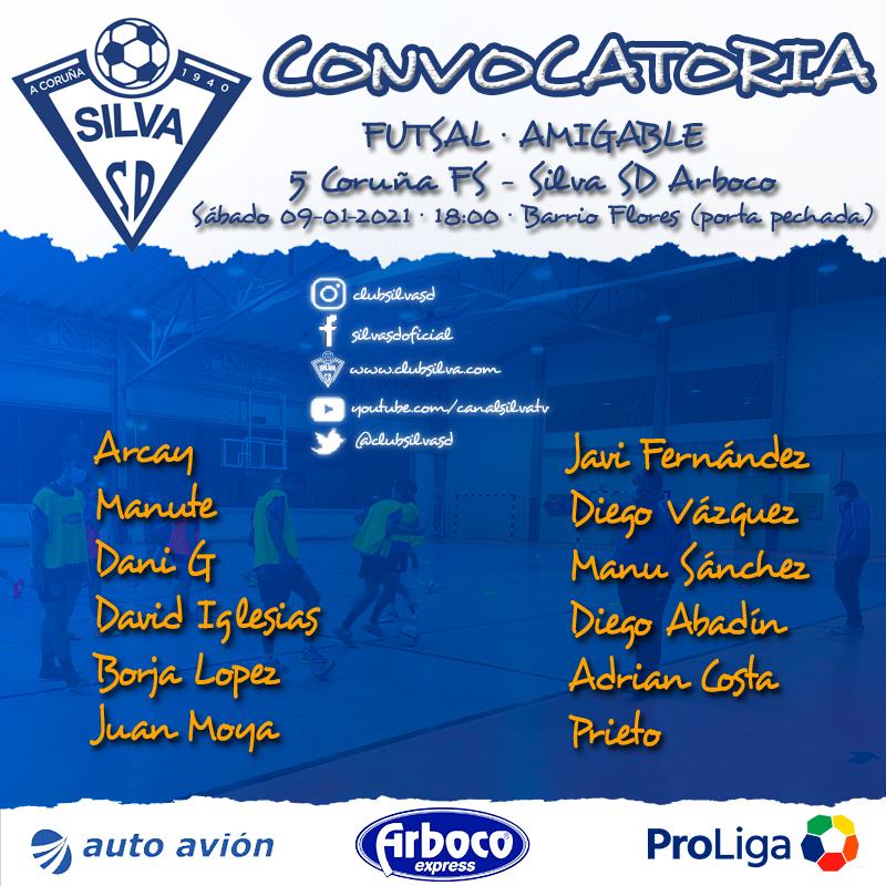 Convocatoria amistoso: 5 Coruña FS – Silva SD Arboco